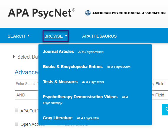 Screenshot of PsycNET Browse dropdown, with values of Journal Articles - PsycARTICLES, Books and Encyclopedia Entries - PsycBOOKs, Tests and Measures - PsycTESTS, Psychotherapy Demonstration Videos - PsycTHERAPY, and Gray Literature - PsycEXTRA