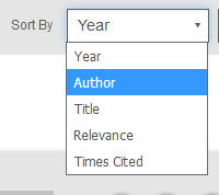 Screenshot showing Display section on PsycNET with Sort By dropdown opened and Author value chosen