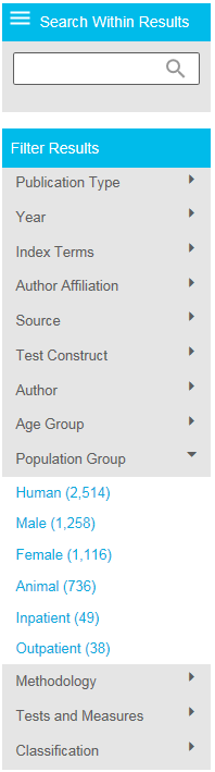 Screenshot showing Filter Results section on PsycNET results page, with Population Group section toggled open