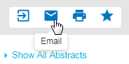 Screenshot showing cursor pointing to envelope icon which is for Email