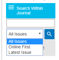 Screenshot showing Search Within Journal dropdown with All Issues selected and other values of Online First and Latest Issue