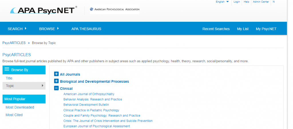 Screenshot showing PsycARTICLES Browse screen