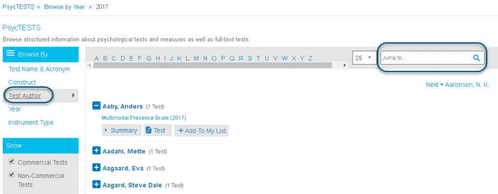 Screenshot of PsycTESTS Browse page showing Browse By Test Author circled and Jump To field circled