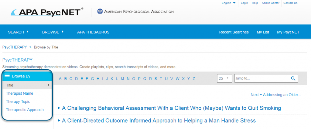 Screenshot of PsycTHERAPY Browse page showing Browse By Title view of screen