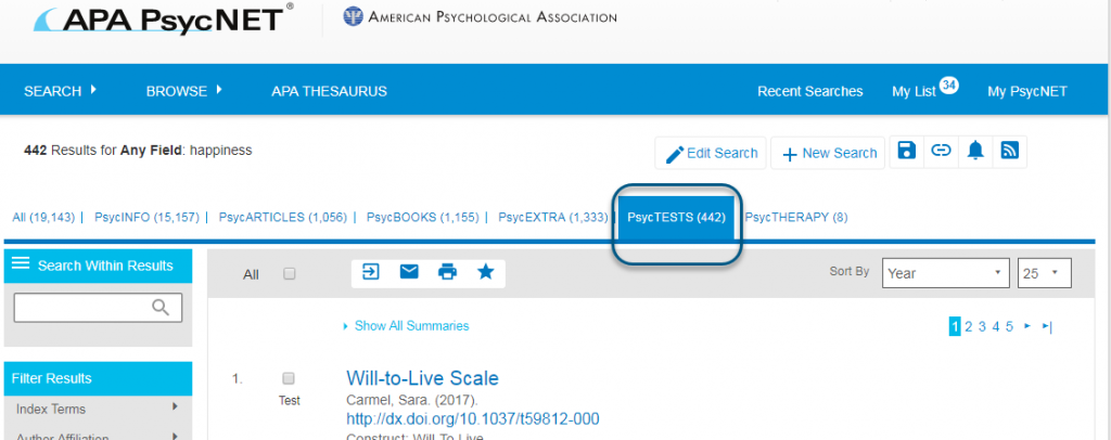 Screenshot of PsycNET showing PsycTESTS tab highlighted and circled