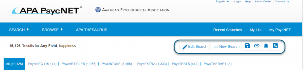 Screenshot of PsycNET showing Edit Search and New Search links circled, as well as Save Search, Get Permalink, Set Email Alert, and Get RSS Feed icons circled
