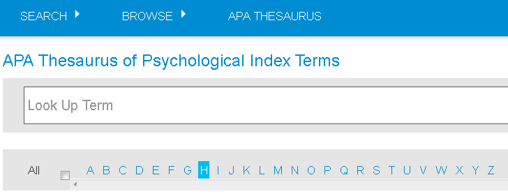 Screenshot of APA Thesaurus Term Finder Look Up Term field and alphabet strip