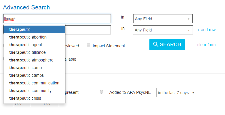 Screenshot showing a search query of therap* entered into the PsycNET Advanced Search input field producing wildcarded results