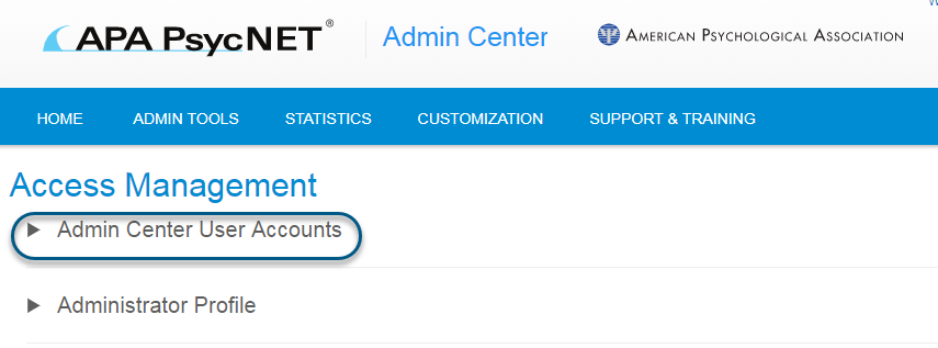 Screenshot of PsycNET Admin Center Access Management screen with Admin Center User Accounts toggle circled