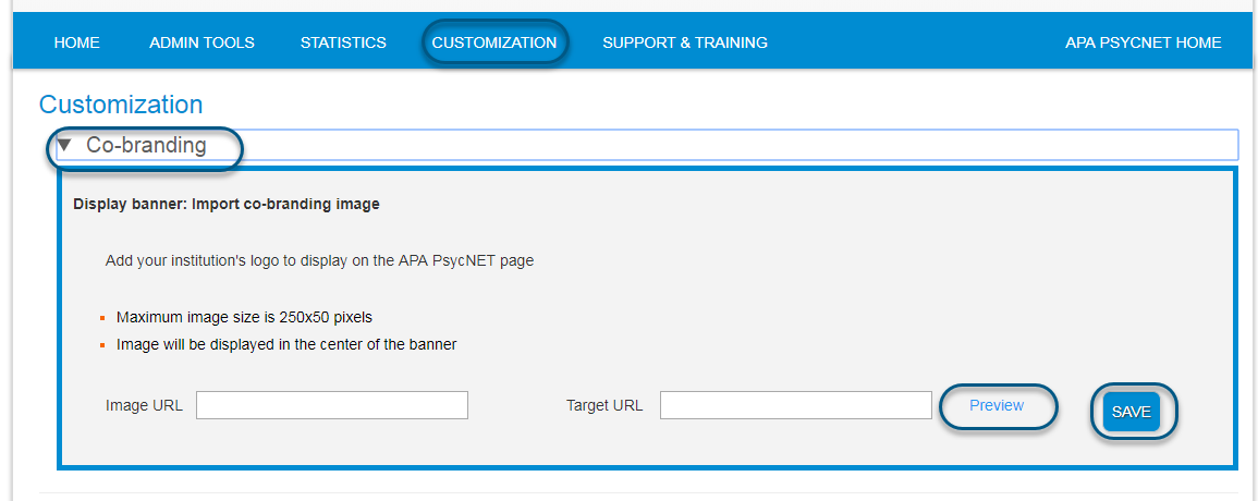 Screenshot of Customization screen with Co-branding section toggled open and fields for Image URL and Target URL