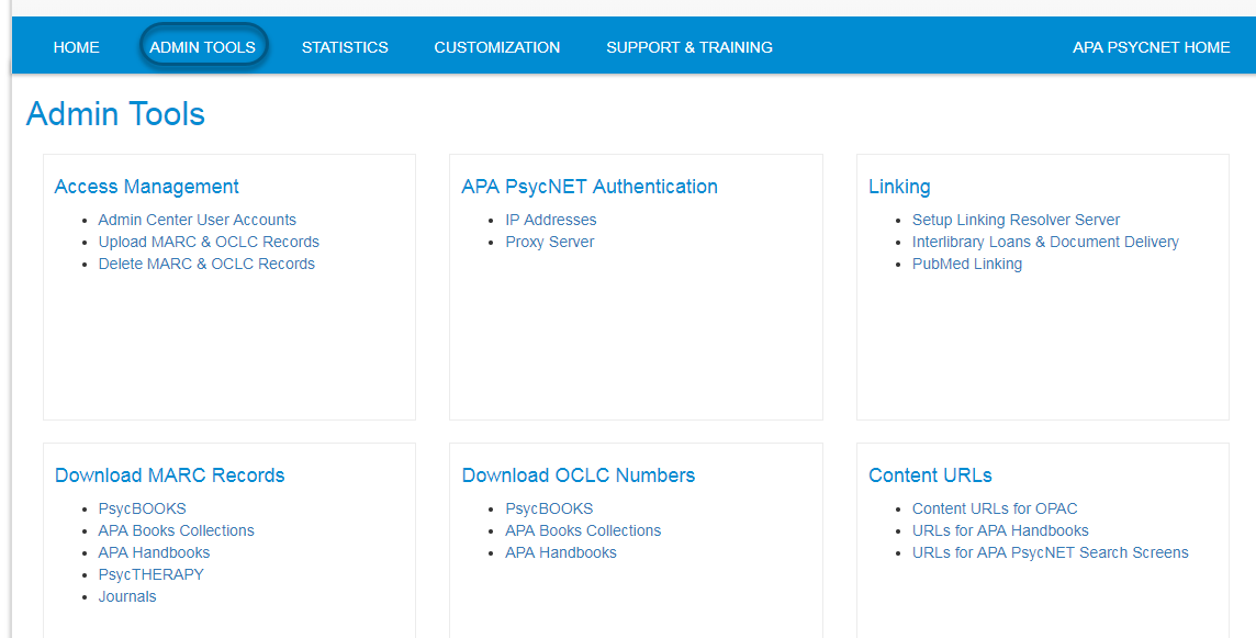 Screenshot of PsycNET Admin Center, with Admin Tools link circled