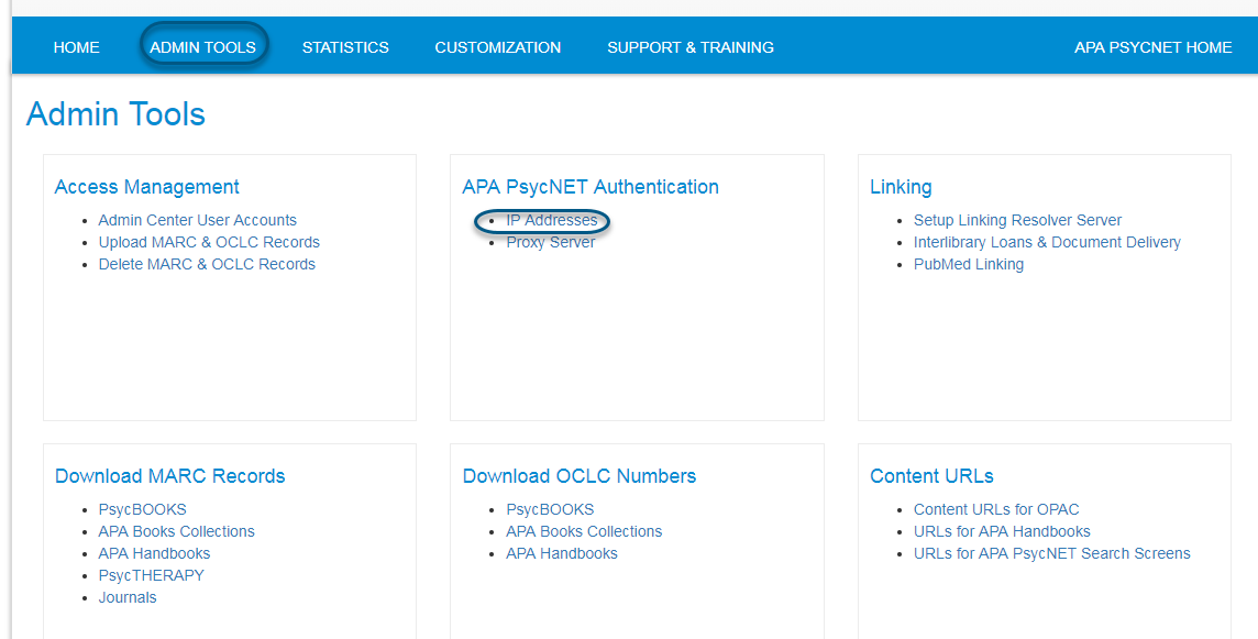 Screenshot of PsycNET Admin Tools screen with IP Addresses link circled