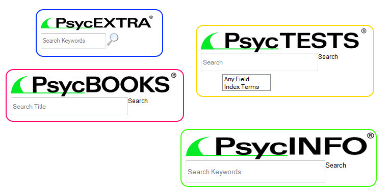 Example search widgets for PsycEXTRA, PsycTESTS, PsycBOOKS, and PsycINFO