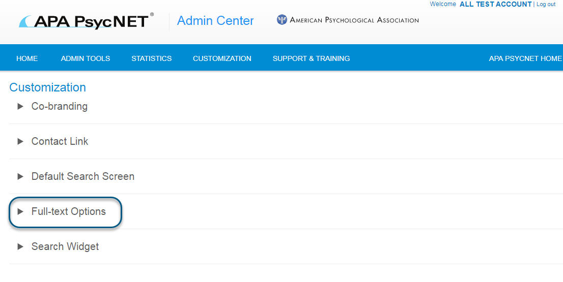 Screenshot of Admin Center Customization screen with Full-text Options link circled