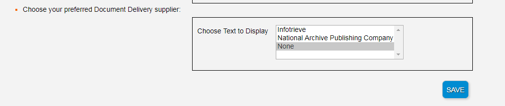 Choose Text to Display options including options of Infotrieve and National Archive Publishing Company and None
