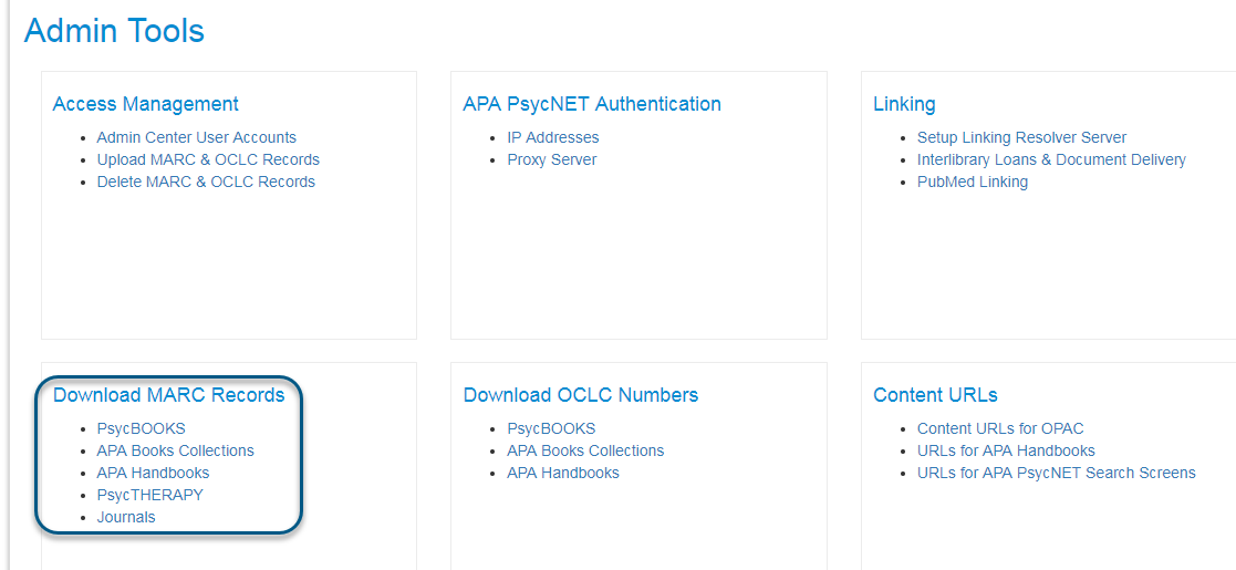 Screenshot of Admin Tools screen with Download MARC Records section circled