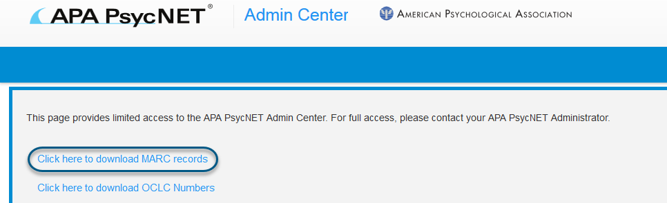 Screenshot of PsycNET Admin Center with Click here to download MARC records link circled