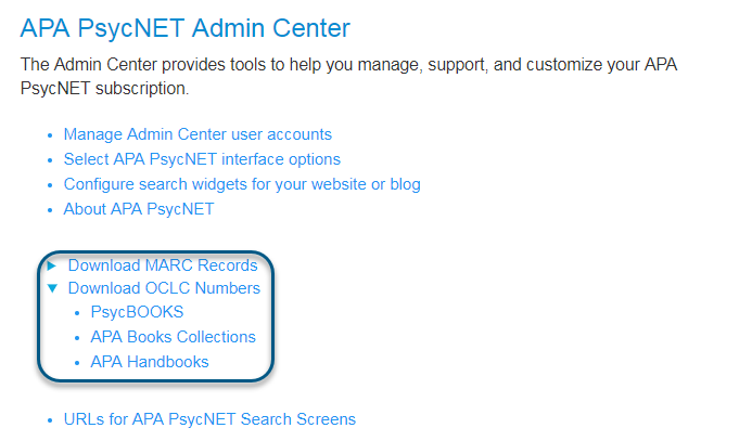 Screenshot of Download OCLC Numbers link toggled open