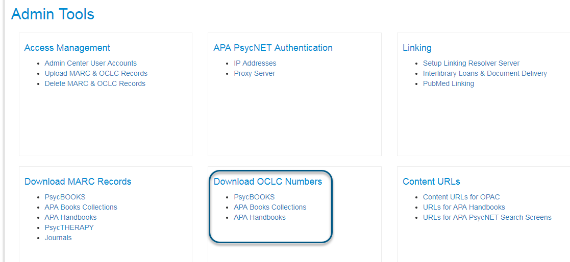 Screenshot of Admin Tools screen with Download OCLC Numbers section circled