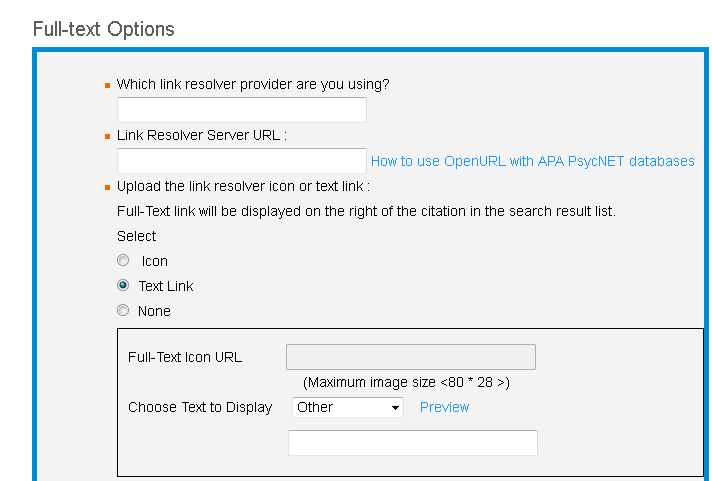 Screenshot of Full-text Options screen with Text Link selected