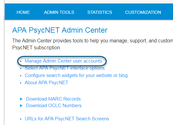 Screenshot of PsycNET Admin Center with Manage Admin Center User Accounts link circled