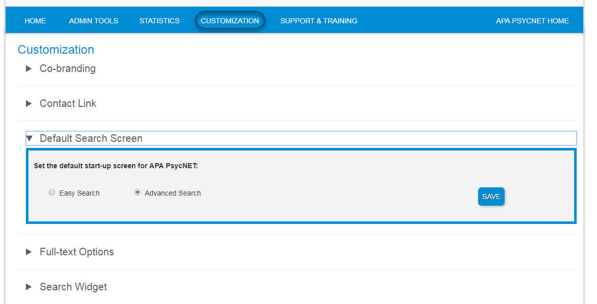 Screenshot of Admin Center Customization screen with Default Search Screen section toggled open