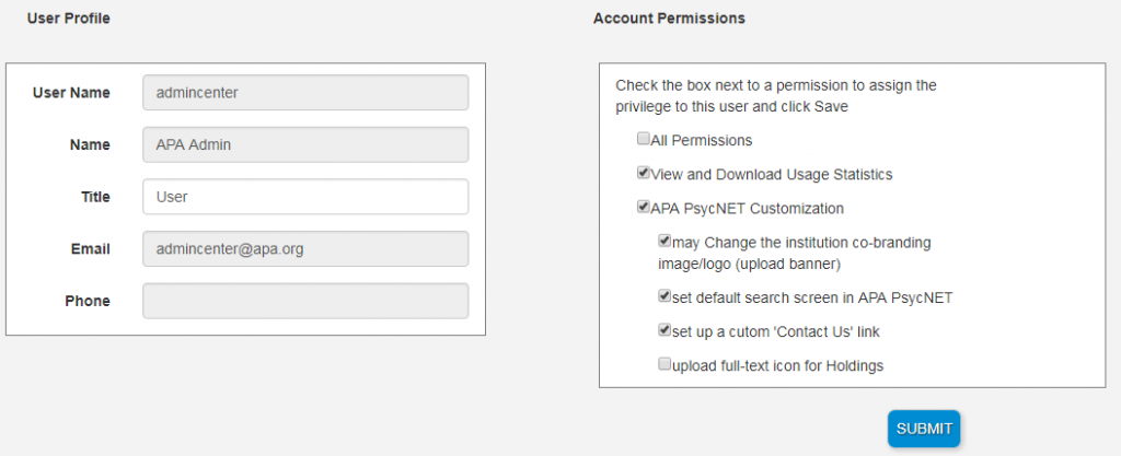 Screenshot of User Profile fields and Account Permissions checkboxes