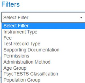 Screenshot of PsycNET Advanced Search screen Filters section