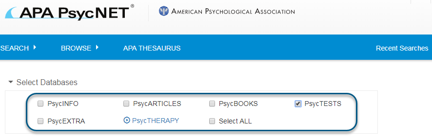 Screenshot of PsycNET search screen with PsycTESTS database checked