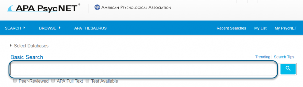 Screenshot of PsycTESTS Basic Search input field circled