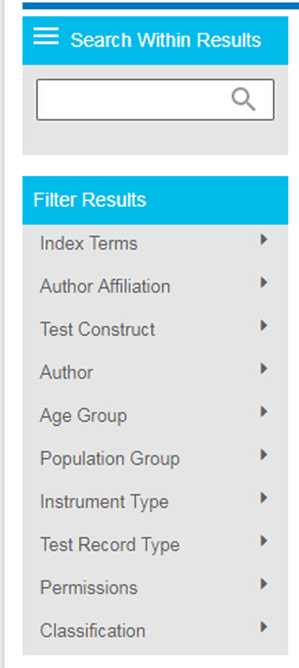 Screenshot of PsycTESTS Filter Results section on PsycNET