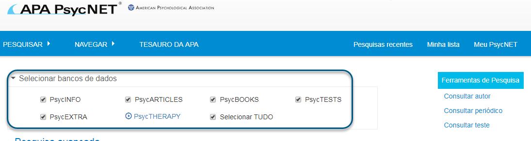 Captura de tela da pesquisa avançada no PsycNET com a caixa de PsycTESTS marcada