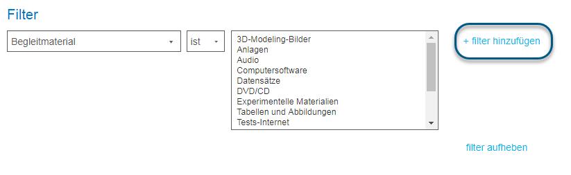 """Bildschirm """"Erweiterte Suche"""" mit eingekreistem Link """"Filter hinzufügen"""""""