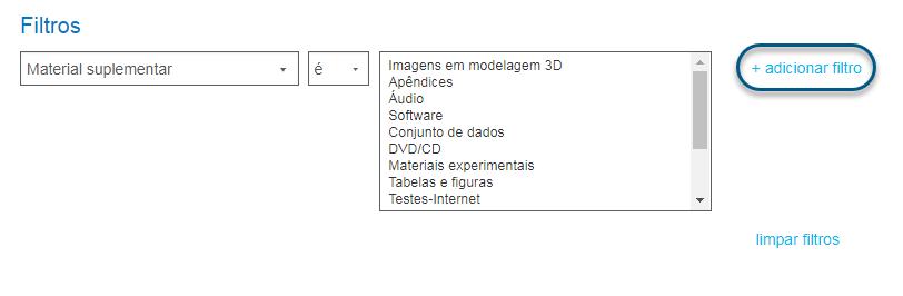 """Captura de tela da pesquisa avançada com o link """"+adicionar filtro"""" circulado"""