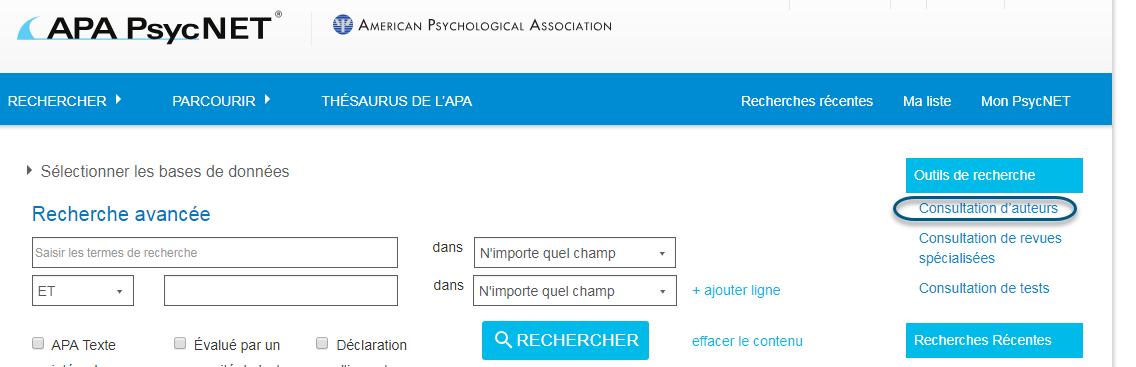 Capture d'écran de PsycNET avec le lien Consultation d'auteurs entouré sous la section Outils de recherche