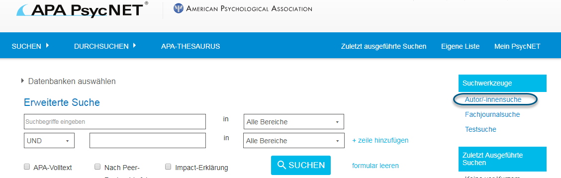 """Screenshot von PsycNET mit eingekreistem Link """"Autor/-innensuche"""" unter dem Abschnitt """"Suchwerkzeuge"""""""