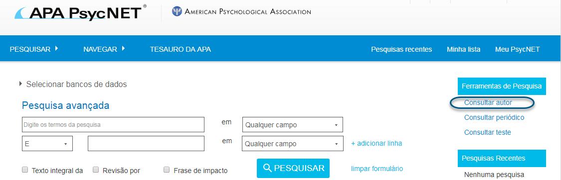 Captura de tela do PsycNET com o link de consulta de autor circulado na seção de ferramentas de pesquisa