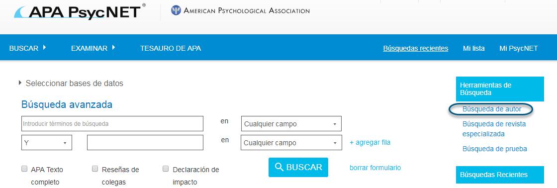 Captura de pantalla de PsycNET con el enlace Búsqueda de autor en un círculo, en la sección Herramientas de búsqueda