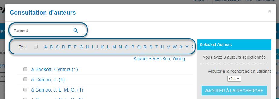Capture d'écran de la page Consultation d'auteurs de PsycNET avec la bande alphabétique entourée