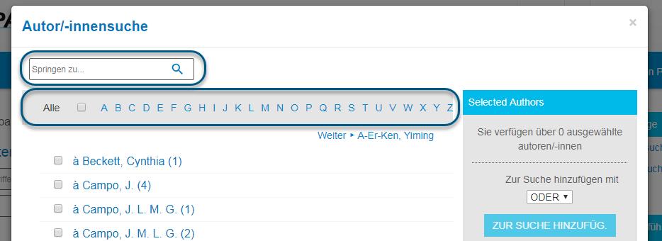 """Screenshot des Bildschirms """"Autor/-innensuche"""" in PsycNET mit eingekreistem Alphabetstreifen"""