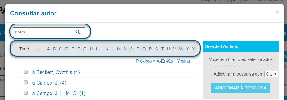 Capturas de tela da consulta de autores do PsycNET com a lista alfabética circulada