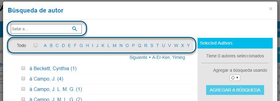 Captura de pantalla de Búsqueda de autor de PsycNET con la barra alfabética en un círculo