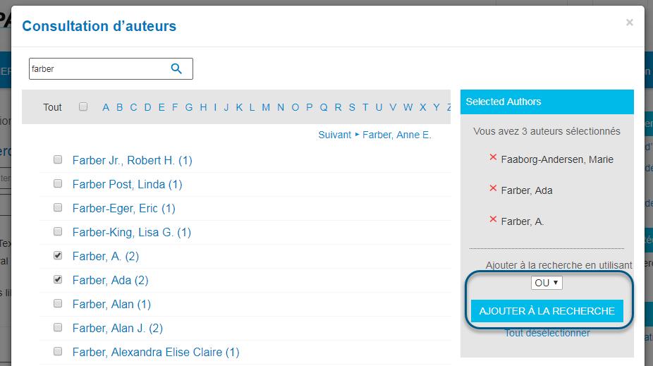 Capture d'écran de la page Consultation d'auteurs de PsycNET avec l'opérateur booléen OU sélectionné et le bouton Ajouter à la recherche entouré