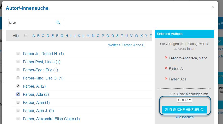 """Screenshot des Bildschirms """"Autor/-innensuche"""" in PsycNET mit gewähltem booleschen ODER und eingekreister Schaltfläche """"Suche"""""""
