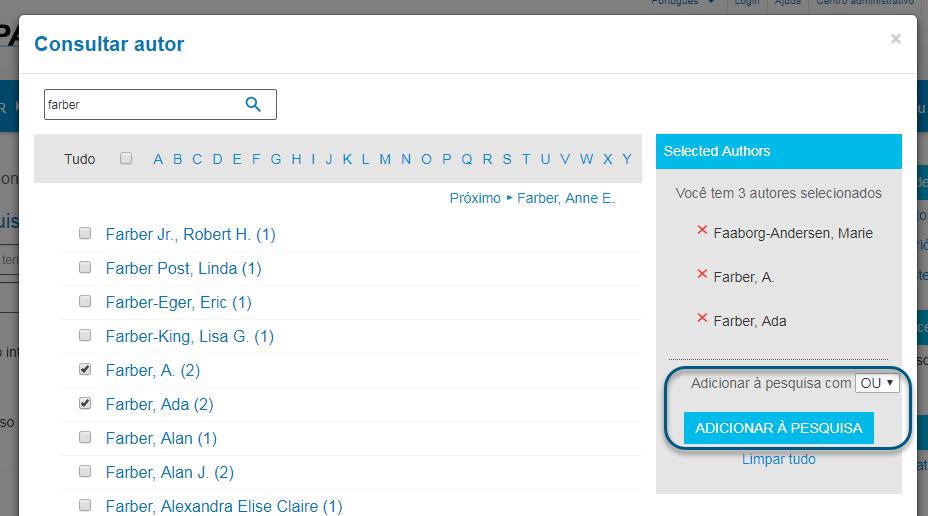 Capturas de tela da consulta de autores do PsycNET com o operador booleano OU escolhido e o botão de adicionar à pesquisa circulado