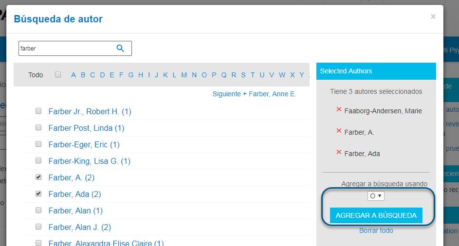 Captura de pantalla de Búsqueda de autor de PsycNET con el booleano O seleccionado y con el botón Agregar a búsqueda en un círculo