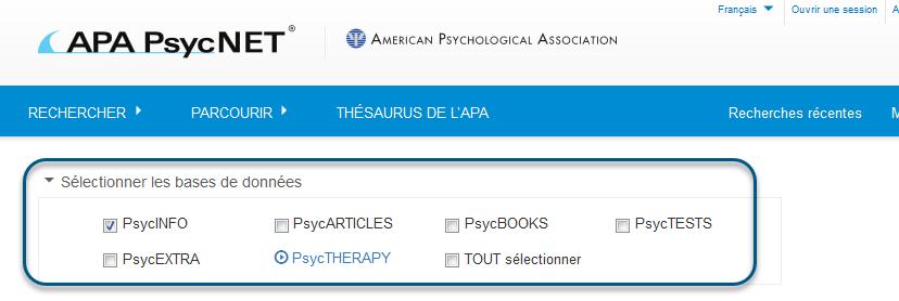 Capture d'écran de la Recherche simple/élémentaire avec la base de données PsycINFO sélectionnée