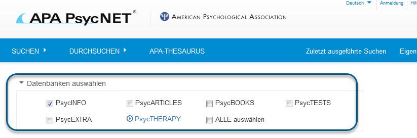 Screenshot der einfachen Suche mit ausgewählter PsycINFO-Datenbank
