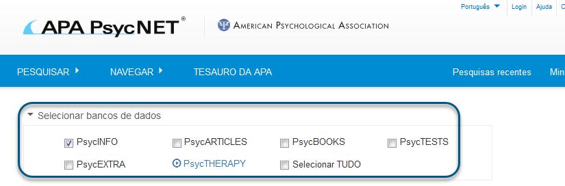 Captura de tela da pesquisa básica com o banco de dados PsycINFO marcado