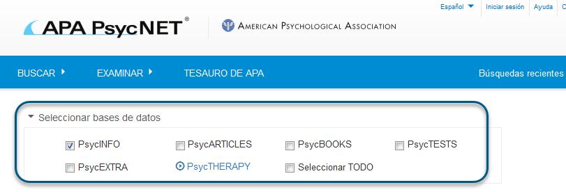 Captura de pantalla Búsqueda básica/sencilla con la base de datos PsycINFO marcada